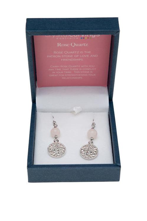 Crystal Carvings Tree of Life Earrings - Rose Quartz