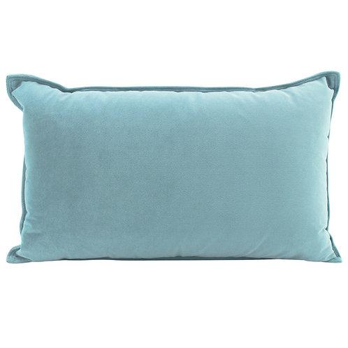 Velvet Oblong Cushion - Steel Blue