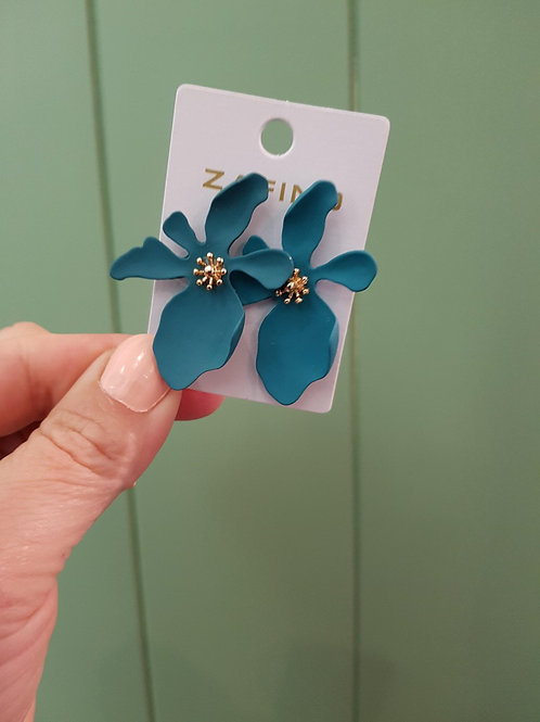 Large Orchid Earrings - Emerald
