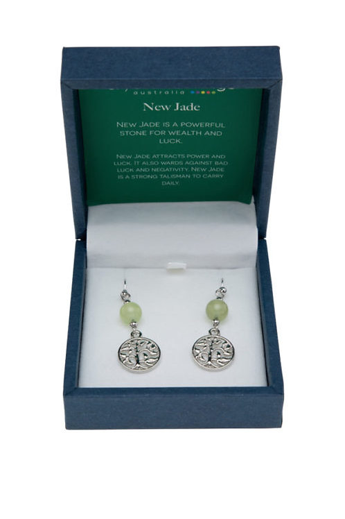 Crystal Carvings Tree of Life Earrings - New Jade