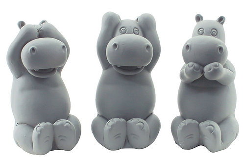 Set Hear/See/Speak Evil Miniature Hippos