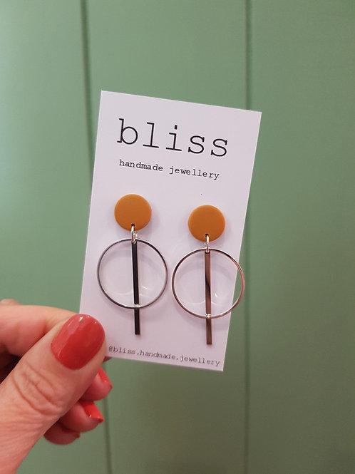 Bliss Drop Dangles - Silver & Mustard