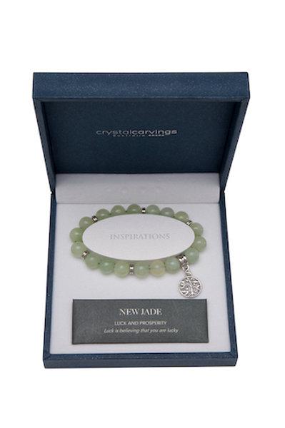Crystal Carvings Tree of Life Charm Bracelet - New Jade