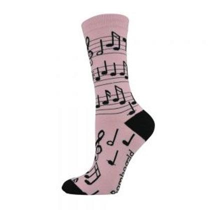 Ladies Musical Notes Bamboo Socks 2-8