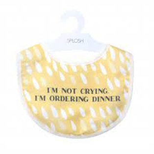 CLEARANCE Baby Bib - I'm not crying, I'm ordering dinner