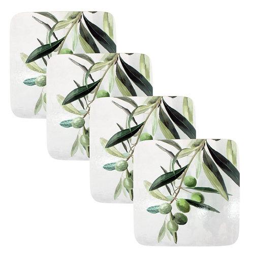 Set 4 Coasters - Olive Branch