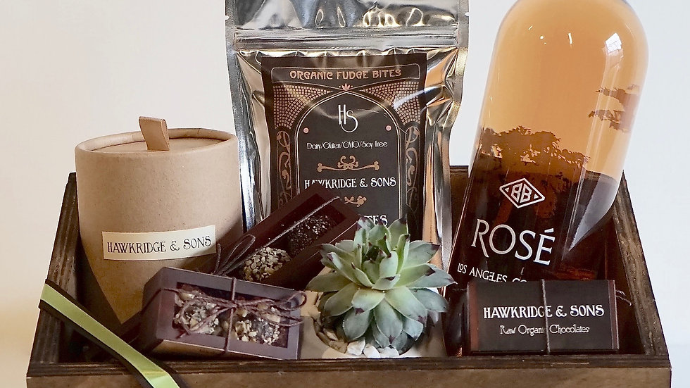 Brown Gift Box with Succulent
