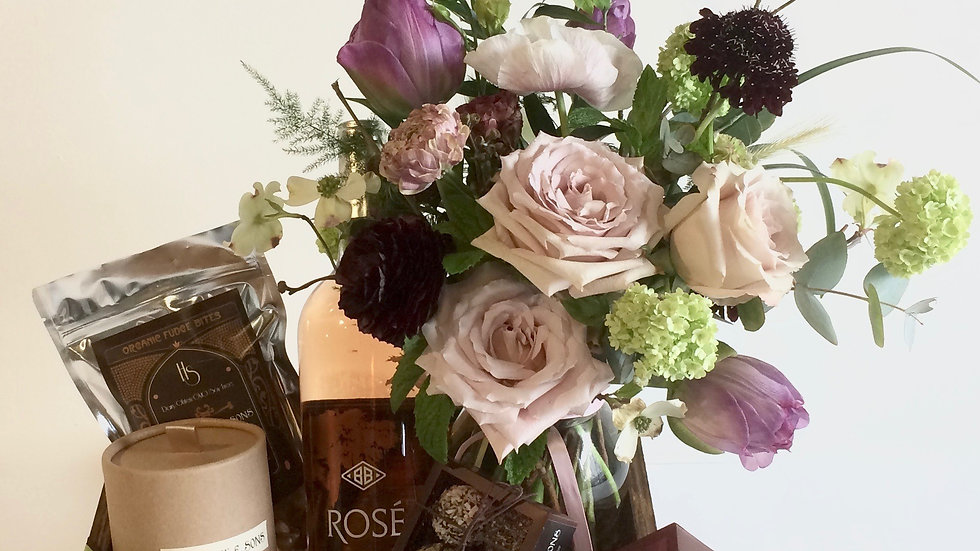Brown Gift Box with Flower Jar