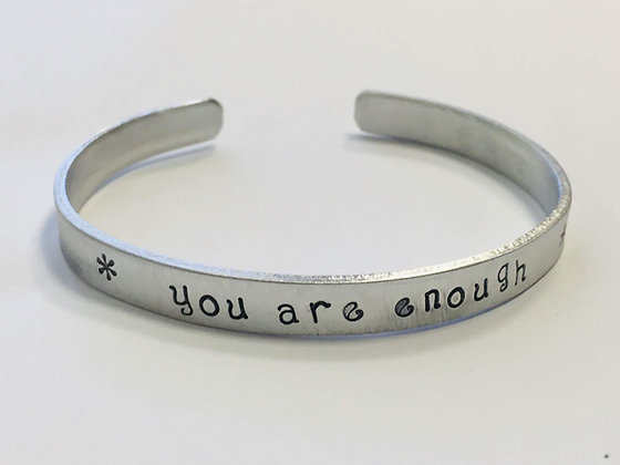 You are enough - handstamped self worth quote bracelet on a non tarnish aluminum