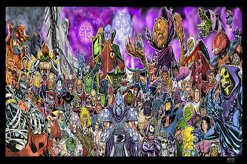 80's Villains 24x36 colored Framed