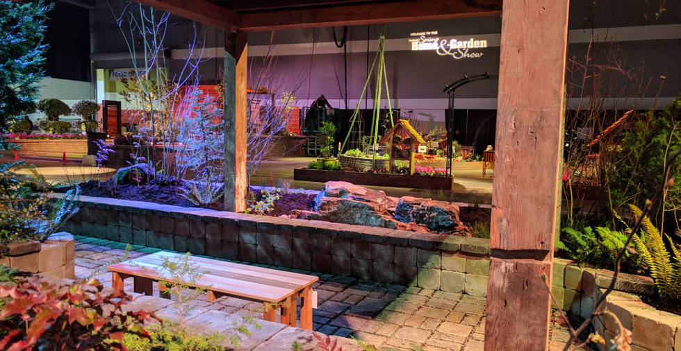 Permeable pavers and reclaimed wood pergola