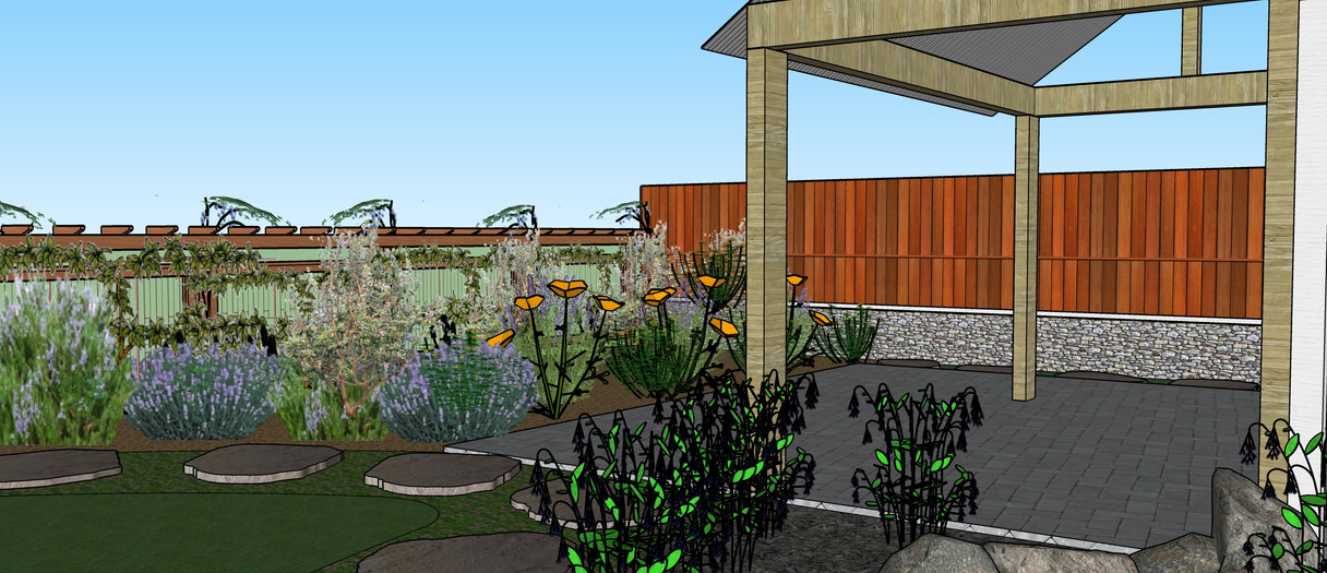 Edible plants growing on back fence, water feature, and pergola with interlocking pavers
