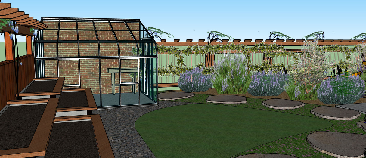 Green house and raisd garden beds in back yard