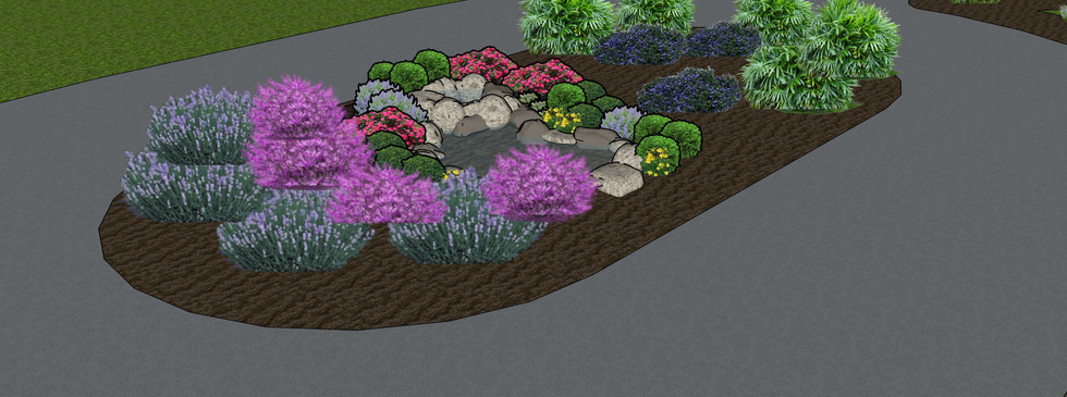 Turn around driveway with water feature