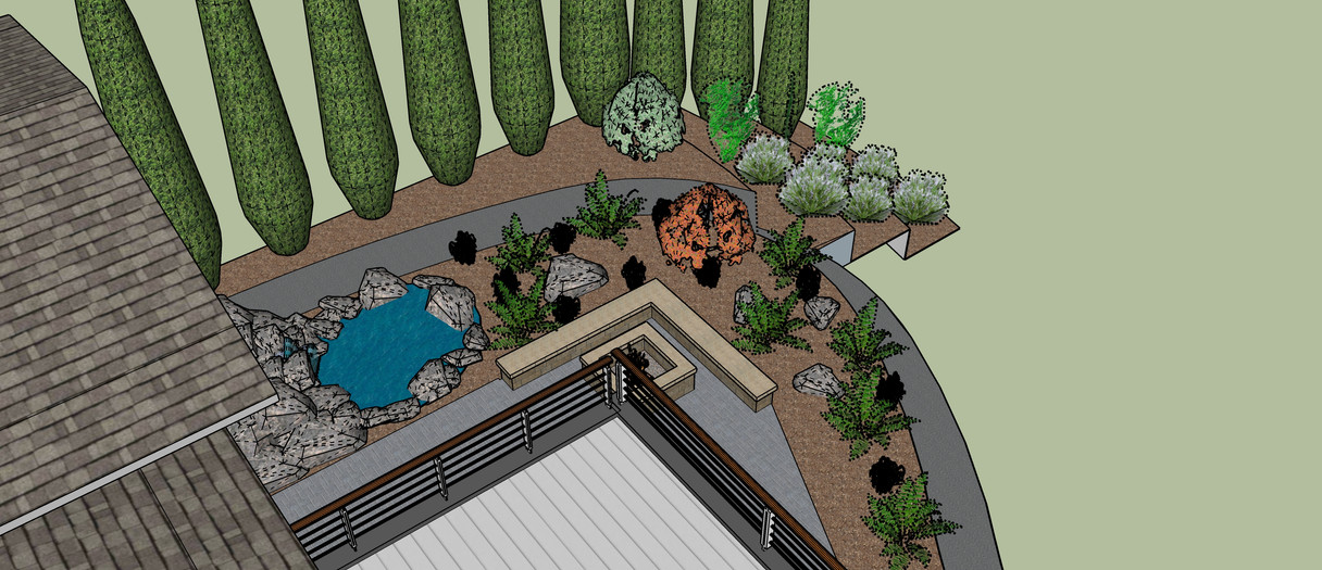 Water feature, dry deck, hardscaping entertainment space, and retaining walls