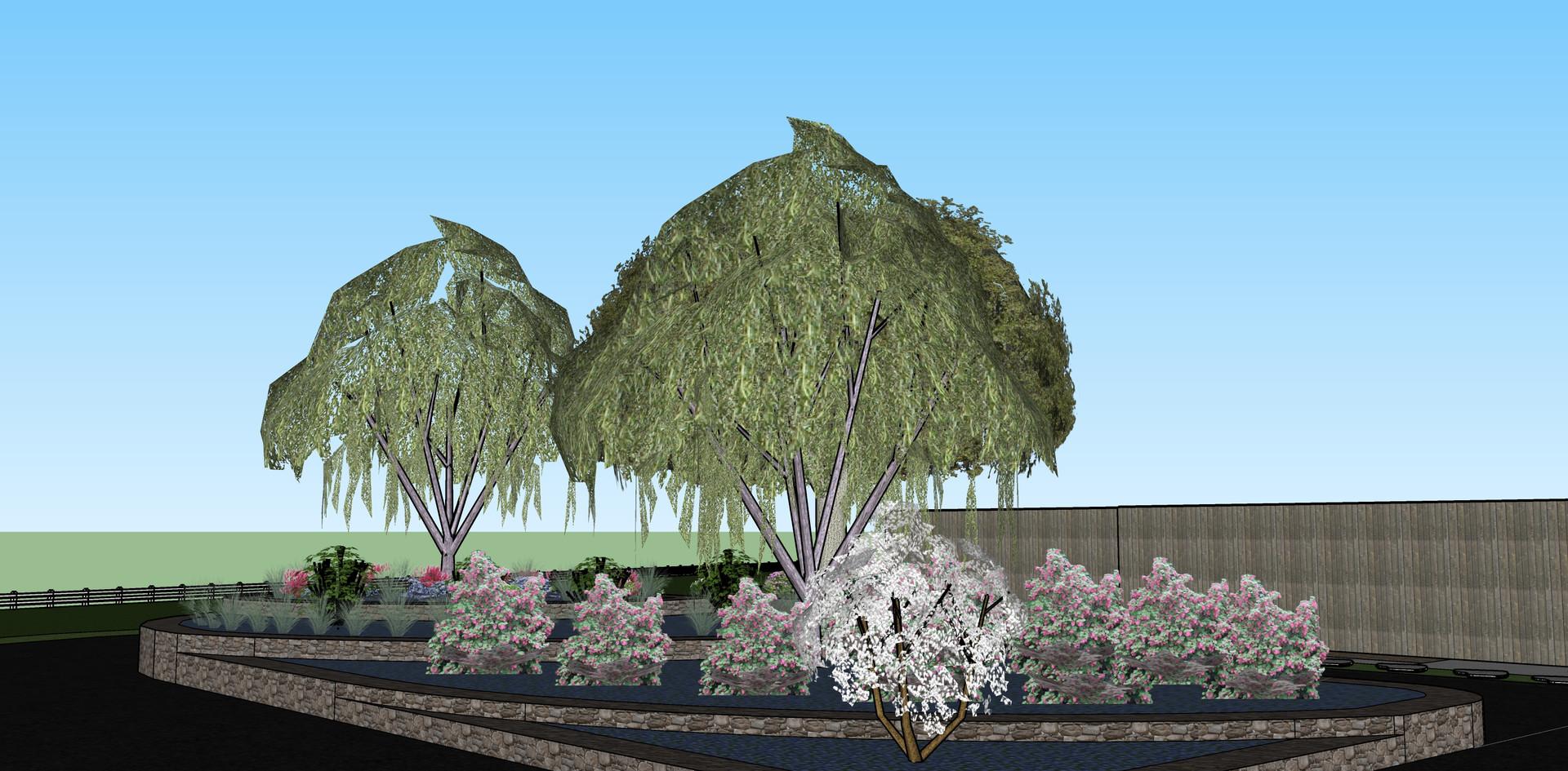 Cascading rain garden feature