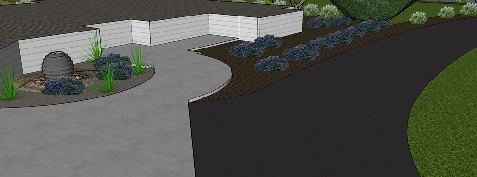 Entryway to house with water feature