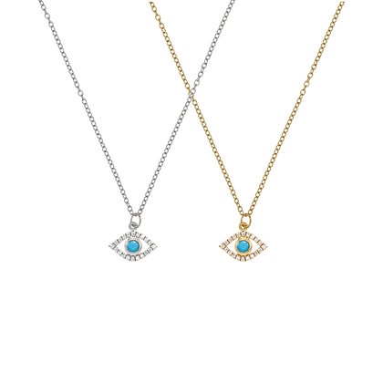 Turquoise Lucky Eye Pave Necklace