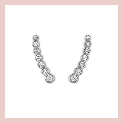 Sparkly Bezel Ear Crawlers - Silver (pair)