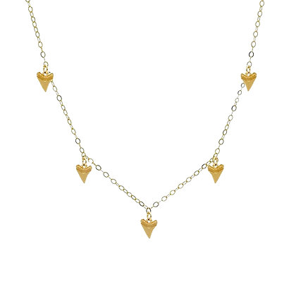 Shark Tooth Charm Necklace - Gold