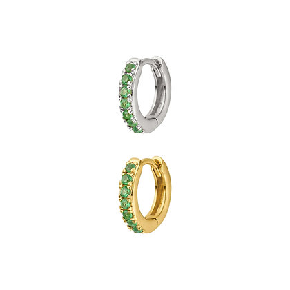 Emerald Pave Huggie Hoop (single)