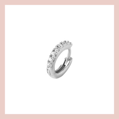 Mini Pave Cartilage Huggie Hoop - Silver (single)