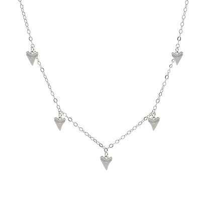 Shark Tooth Charm Necklace - Silver