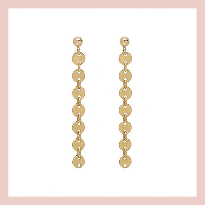 Mini Coin Long Earrings - Gold (pair)