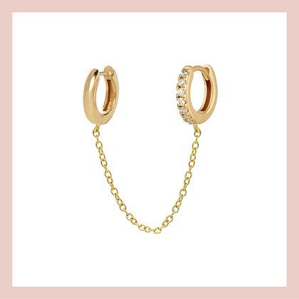 Chain Double Huggie Hoops - Gold