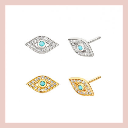 Turquoise Evil Eye Stud (single)