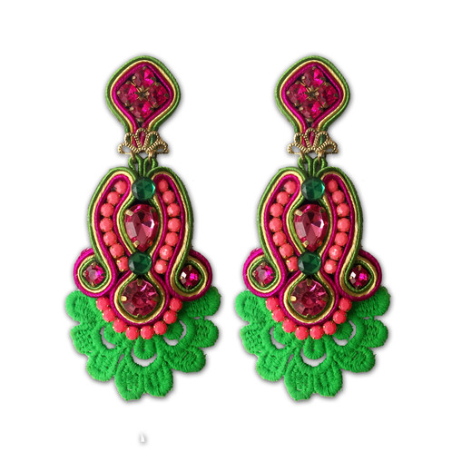 diamond neon stud dakini pink earrings product