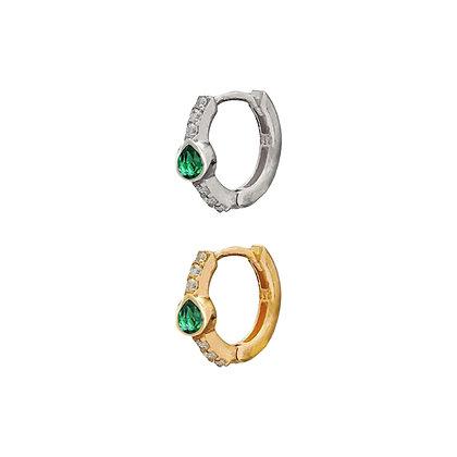 Emerald Teardrop Huggie Hoop (single)