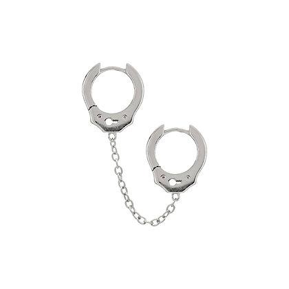 Handcuff Chain Hoops - Silver