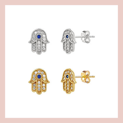 Hamsa Pave Stud (single)