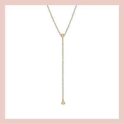 Bezel Lariat Necklace - Gold