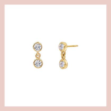 Double Bezel Drop Earring (single)