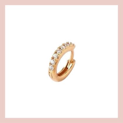 Mini Pave Cartilage Huggie Hoop - Gold (single)