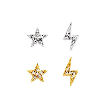 Star & Lightning Stud Set