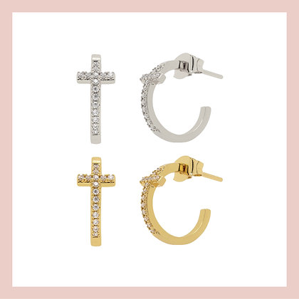 Pave Cross Hoops (pair)