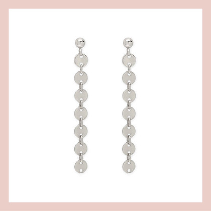 Mini Coin Long Earrings - Silver (pair)