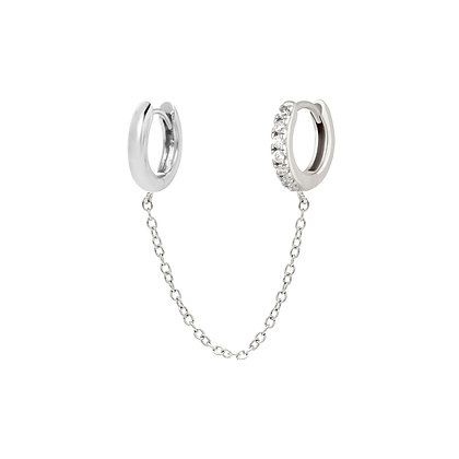 Chain Double Huggie Hoops - Silver