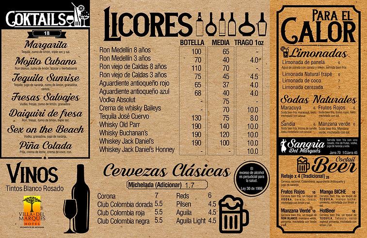 carta menu hotel Villa del Marqués, Santa Fe de Antioquia, Hotel Medellín, campestre, natural
