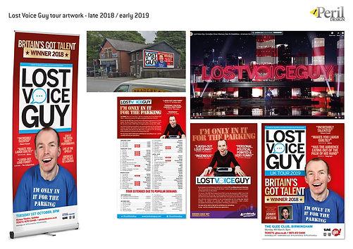 Lost Voice Guy comedy tour artwork by Peril Design