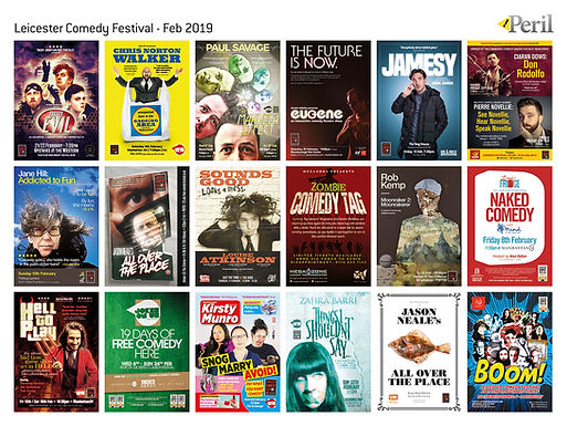 Comedy posters for Leicester Comedy Festival 2019 by Peril Design