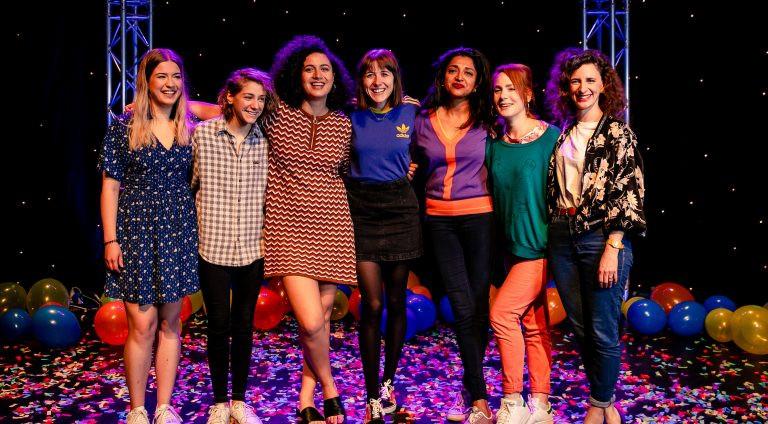 Sarah eyworth with fellow nominees at the 2018 Edinburgh Comedy Awards