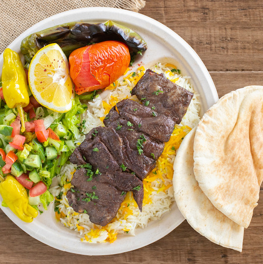 shish beef kabob plate