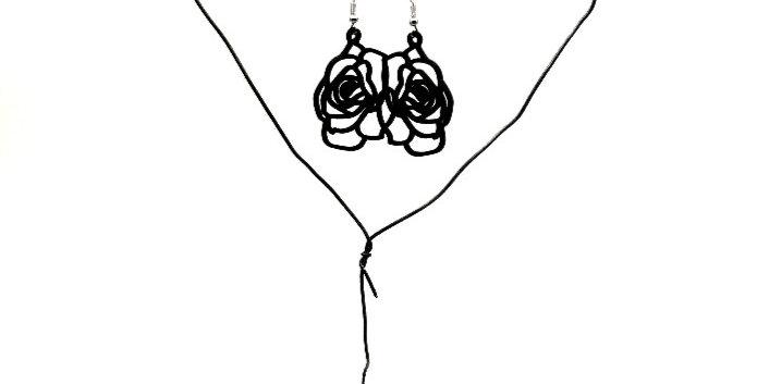 Boucles d'oreilles ROSE black