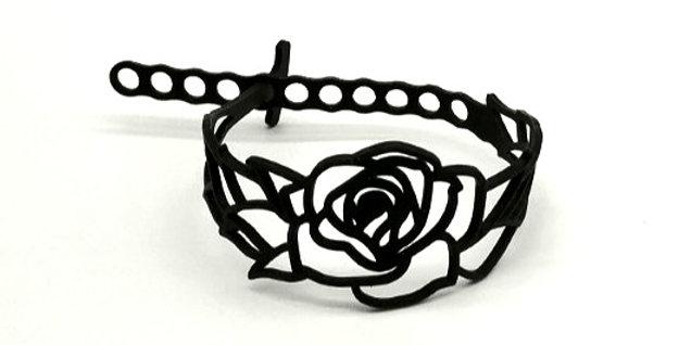 Bracelet Rose noir fleur