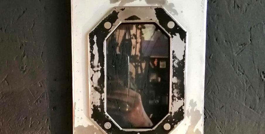 Cadre photo hublot métal bidon recyclé