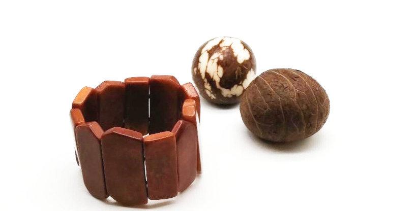 Bracelet Ivoire Végétal Caramel